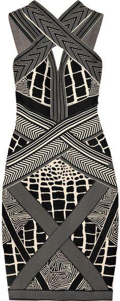Herve Leger Geometric Jacquard Bandage Dress  dressmesweetiedarling