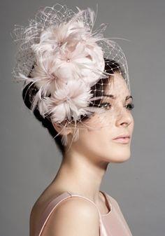 Soft pink silk taffeta feather flower pillbox with face veil Rachel Trevor-Morgan