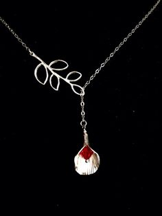 Sterling Silver Necklace Red Ruby Necklace Coral by JewelryByVogue