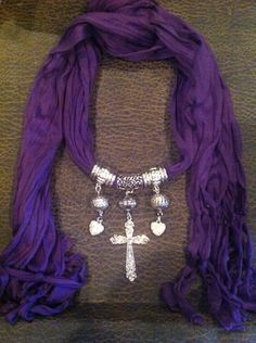 Scarf Jewelry Necklace Cross Pendant Purple by dallasdesigner, $22.00