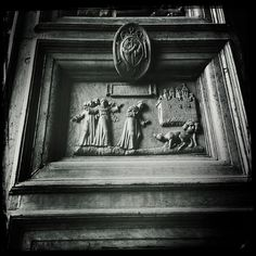 St. Francis and the Wolf of Gubbio - Just a wonderful parable... or also a true story? This wooden door carving powerfully illustrates the moment St. Francis first speaks with the wolf. Full story available at: http://blog.robindavis.com/st-francis-and-the-wolf-gubbio/