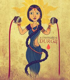 Maa Kushmanda is the fourth aspect of Goddess Durga, who is worshipped on the fourth day of Navaratri celebrations. In this form, Kushmanda Durga holds two pitchers full of blood in her hands Maa Image, Maa Durga Image, Durga Painting, Madhubani Painting, Durga Images, Durga Goddess, Durga Maa, Art Folder, India Art