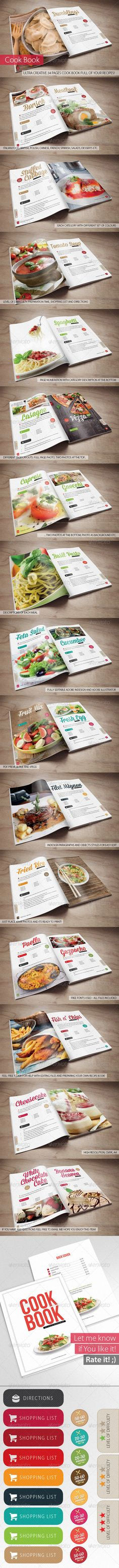 Cook Book - Your Recipes #GraphicRiver 34 Pages creative cook book stuffed with Your recipes and dish photos!
