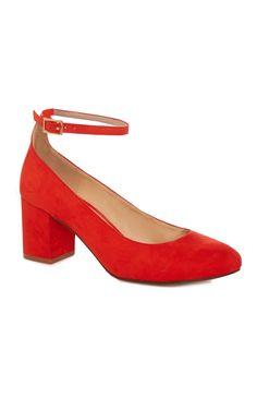 Primark - Red Ankle Strap Block Court Heel