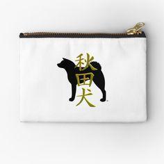 Akita inu with kanji Zipper Pouch Designed by MariaUusivirta. Japanese Akita, Bear Attack, American Akita, Inu, Gifts For Family, Zipper Pouch, My Best Friend, Silhouette