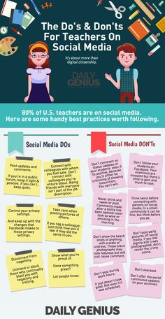 The Do's and Don'ts for Teachers on Social Media Infographic - http://elearninginfographics.com/dos-donts-teachers-social-media-infographic/
