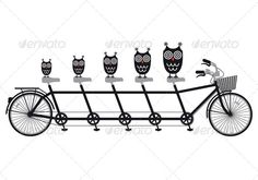 Owls On Tandem Bicycle, Vector  #GraphicRiver         Owl family on tandem bicycle, vector  	 AI EPS 8 and high resolution JPG 5000×3500 pixel included     Created: 25March13 GraphicsFilesIncluded: JPGImage #VectorEPS Layered: Yes MinimumAdobeCSVersion: CS Tags: animal #baby #bicycle #bike #bird #black #cartoon #child #children #cute #cycle #cycling #drawing #eps #family #illustration #kid #object #owl #parent #ride #riding #silhouette #tandem #team #vector #white