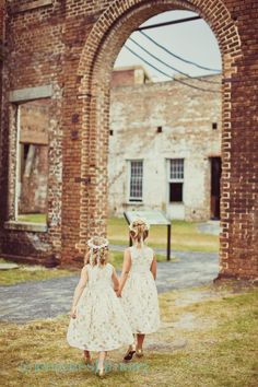 Adorable flower girls at the GA State Railroad Museum