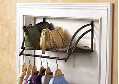 Closet Storage Over The Door Shelf Metal Rack Clothes Rod Hanger Shoes Purse