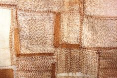 """roz hawker """"back and forth"""" tea dyed cotton thread on cotton cloth"""