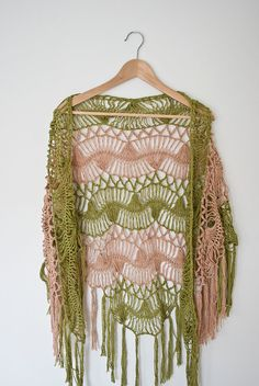 green beige stripes shawl hairpin lace crochet by annerstreet