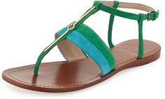 Tory Burch Suede Logo Bar Thong Sandal, Bermuda Teal/Emerald on shopstyle.com