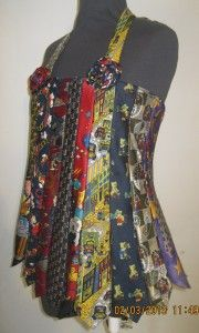 Upcycled necktie halterneck top created as an entry in an International Women's Day art exhibition/competition!