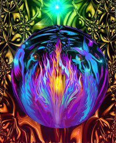 Chakra Art Violet Flame Psychedelic Wall Decor Energy Art