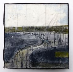 Marshscape Collage #9/16, Linen, wax, 20 x 20 cms, Debbie Lyddon