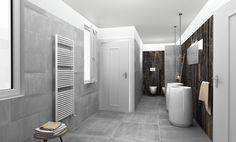 Ceramica Sant'Agostino tiles for this bathroom, virtual image, rendered with DomuS3D® 2017 and V-Ray