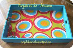 bandejas pintadas a mano - Buscar con Google Napkin Decoupage, Decoupage Art, Painted Trays, Painted Boxes, Dot Painting, Paper Napkins, Chalk Paint, Decoration, Plastic Cutting Board