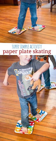 Paper Plate Skating Simple Gross Motor Activity Age Foundations: Gross motor skills and Physical stability Indicator numbers: and Gross Motor Activities, Movement Activities, Gross Motor Skills, Indoor Activities, Sensory Activities, Winter Activities, Learning Activities, Preschool Activities, Preschool Decorations