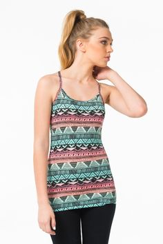 Basic high racerback tank in mint & coral print - Clothing