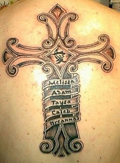 5  names and a cross #TattooModels #tattoo