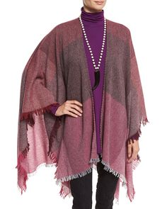 Viaggo Wool-Blend Plaid Serape, Raisin, Petite