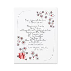Red Black Daisies Bridal Shower Invite by dmboyce