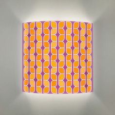 Purple and orange lighting fixture, wall lamp with retro print. on Etsy, £45.85