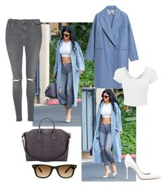 """Get the look: Kylie Jenner with Asos duster coat"" by vinagrace ❤ liked on Polyvore featuring mode, Banana Republic, Givenchy, Topshop, Gianvito Rossi, Ray-Ban, white, ASOS, croptop et KylieJenner"