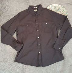 Dockers Mens Shirt Size Large Gray Long Sleeve Button Front Classic Fit Casual  #DOCKERS #ButtonFront