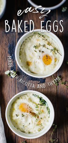 Baked eggs, known as oueffs in cocotte, are a traditional French breakfast, often made with half-and-half or heavy cream, cracked egg, and simple seasoning topped with shredded cheese. This version, made with ricotta cheese, makes for a fluffy and densely delicious breakfast. #BakedEggs #OueffsInCocotte #RicottaAndThyme #HealthyBreakfastRecipe Unique Recipes, Delicious Recipes, Easy Recipes, Diet Recipes, Easy Meals, Yummy Food, Easy To Make Breakfast, Perfect Breakfast, Breakfast Ideas
