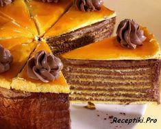 Dobos torta, a Hungarian cake Hungarian Desserts, Hungarian Cake, Romanian Desserts, Hungarian Recipes, Russian Recipes, Traditional Cakes, Homemade Cakes, Creative Cakes, No Bake Cake