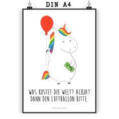 Poster DIN A4 Einhorn Luftballon aus Papier 160 Gramm  weiß - Das Original von Mr. & Mrs. Panda.  Jedes wunderschöne Poster aus dem Hause Mr. & Mrs. Panda ist mit Liebe handgezeichnet und entworfen. Wir liefern es sicher und schnell im Format DIN A4 zu dir nach Hause.    Über unser Motiv Einhorn Luftballon  Ein Einhorn Edition ist eine ganz besonders liebevolle und einzigartige Kollektion von Mr. & Mrs. Panda. Wie immer bei unseren Produkten sind alle Motive handgezeichnet und werden mit…