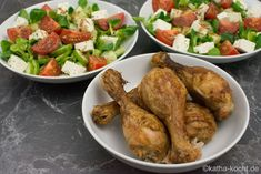 Knusprige Hähnchenschenkel mit Salat - Katha-kocht!