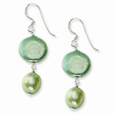 Sterling Silver Light Green Freshwater Cultured Pearl Earrings
