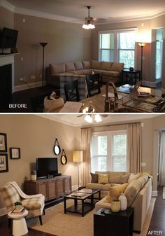 Living room makeover. Love the wall hangings in the new style, more floor lighting, window treatments