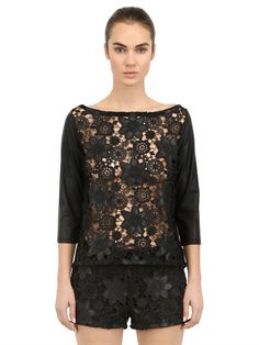 ESGIVIEN - FAUX LEATHER & MACRAMÉ LACE TOP - LUISAVIAROMA - LUXURY SHOPPING WORLDWIDE SHIPPING - FLORENCE