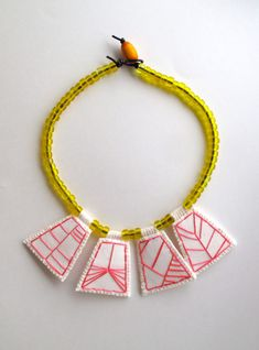 Embroidered geometric necklace hot pink pendants with