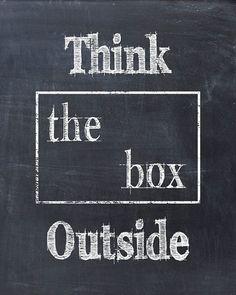 Denken buiten de Box Art Print offerte schoolbord Print