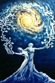 """""""Trois pas, c'est le temps : Le passé : purification. Le présent : don total de soi-même. Le futur : noces. Les deux Amants sont issus de LUI, LUI qui fait naître éternellement. À LA PLACE DE LA LUMIÈRE SANS CORPS ET DU CORPS SANS LUMIÈRE, LE NOUVEAU, LES DEUX AMANTS UNIS. LE VERBE DEVIENT CHAIR, ET LA MATIÈRE DEVIENT LUMIÈRE. La conception immaculée est l'Amour éternel qui n'est pas suivi de Bethléem, ni de tombeau, ni de résurrection.""""  Dialogues avec l'ange"""