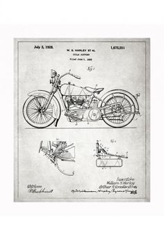 harley blueprints 740x1081 Vintage Patent Application Posters