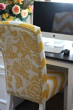 Pinterest:Fatima The Ladybird Pouf Salon, Diy Chair, Chair Fabric, Bird Fabric, Parsons Chairs, Parsons Chair Slipcovers, Office Makeover, Upholstered Chairs, Reupholster Dining Chair