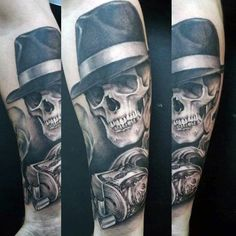 Skull With Mobster Hat And Money Mens Gangster Forearm Tattoos
