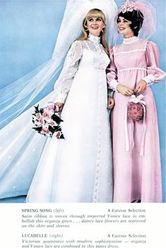 I have this brochure from Caresse that shows some of the choices brides could make in Don't miss the hair or veils, you won't be able . Vintage Wedding Photos, Vintage Weddings, Vintage Bridal, Vintage Ads, Couple Wedding Dress, Wedding Couples, Formal Wedding, Wedding Attire, Bridal Gowns