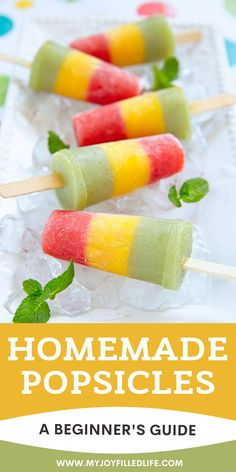 Popsicles are the perfect summer treat.  Here is a simple, helpful guide to get you started making your own homemade popsicles.  #popsicles #homemadepopsicles #frozentreat Delicious Desserts, Dessert Recipes, Yummy Food, Easy Desserts, Homemade Popsicles, Slow Cooker Desserts, Frozen Desserts, Frozen Treats, Summer Treats