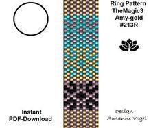 peyote ring pattern,PDF-Download,#213R, Amy-gold,beading pattern, beading tutorials, ring pattern,pdf file,ring design,patterns digital file
