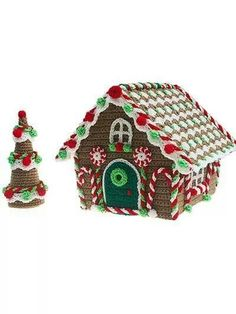 Crochet gingerbread house pattern @ www.anniescatalog.com