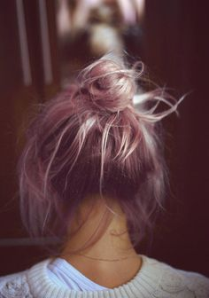 messy bun with a colored twist | #topknot