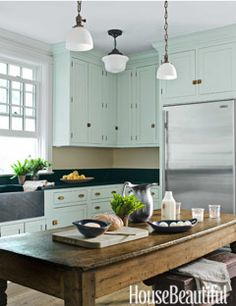 Mint Green Farmhouse Kitchen - House Beautiful Pinterest Favorite Pins May 12, 2014 - House Beautiful