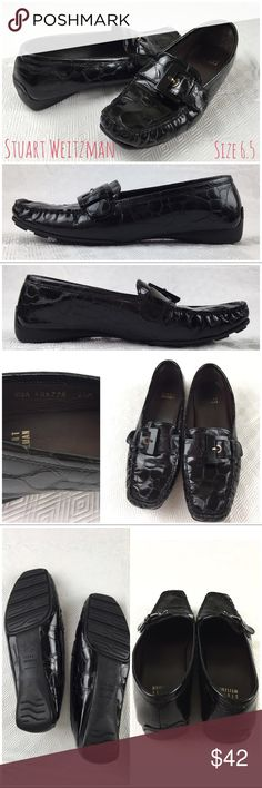 """Stuart Weitzman """"Cia"""" Croc Patent Leather Loafers Stuart Weitzman """"Cia"""" Croc Patent Leather Loafers.  Size 6.5.  Excellent condition.  Black croc embossed patent leather with front buckle.  No wear on sole.  Approx back heel height 0.75"""".    Love it but not the price - I'm open to (reasonable) offers! Stuart Weitzman Shoes Flats & Loafers"""