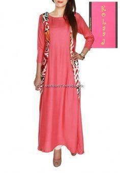 I LUV Designer - Pakistani Designer Dress Shalwar Kameez Coral Casual Tunic with Handmade traditional Sindhi Ralli in Panels by Kolaaj 2013 Fashion Collection - Pakistani Dresses Latest Fashion Pakistani Dress Design, Pakistani Outfits, Indian Outfits, Pakistani Clothing, Western Outfits, Indian Attire, Indian Wear, Ethnic Fashion, Indian Fashion